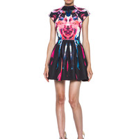 Melted Floral Scuba Pleat Dress in Pink Multi