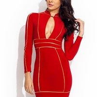 Pipe-Down-Mini-Dress BLACK RED ROYAL - GoJane.com