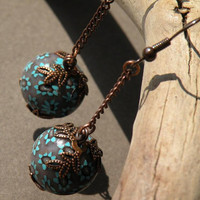 Ball Earings with Turquoise Blue, Brown and White Petite Flowers ...