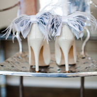Glamorous Bridal Wedding White And Silver Bow With Feather Shoe Clips