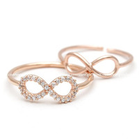 girlsluv.it - #infinity #ring and #knuckle ring set, in pinkgold