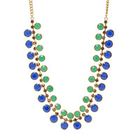 Dual Statement Necklace- Blue And Green