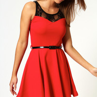 Carmen Lace Top Belted Skater Dress
