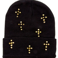 Spike Cross Stud Beanie