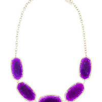 Hexagonal Five-Station Necklace, Purple