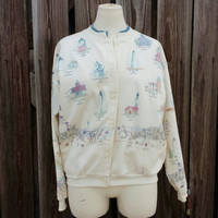 Vintage Lighthouse Sweatshirt Cardigan - Lighthouses from the USA - Beaches - SZ M