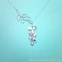 White Gold branch and Orchid flower necklace - Adjustable sterling silver necklace with extension