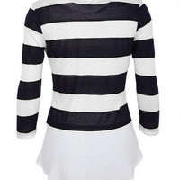 Stripe Shirt Bottom Long-Sleeve