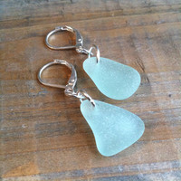 Aqua Sea Glass Earrings - Blue Sea Glass Earrings, Silver Sea Glass Earrings - Aqua Beach Glass Jewelry, Real Sea Glass Earrings