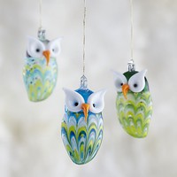 Glass Owl Ornaments