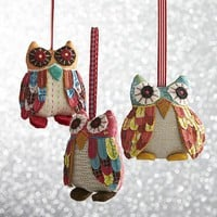 Calico Owl Ornaments