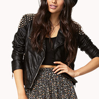 Spiked Shoulder Moto Jacket