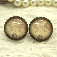 S0736 16mm Stud World map Bronze Studs Earrings earring Glass Dome Round nickel free