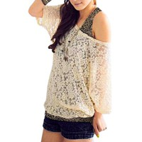 Allegra K Women Scoop Neck Mid Sleeve Sheer Shirt w Leopard Print Tank Top