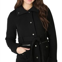 Snap Front Jacket with Zipper, High Collar and Tie Belt