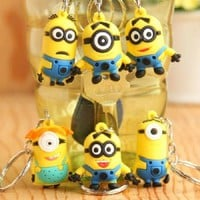 "Despicable Me Minions PVC Figure Keychain 1"" Bag Pendant Phone Charm Set of 6"