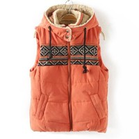 Women Junior Fleece Hooded Cotton Padded Waistcoat Vest Gilet