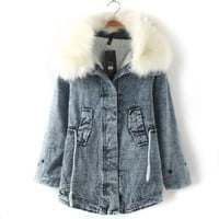 Women Junior Fur Collar Fleece Denim Coat Outerwear Trench