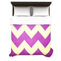 "Catherine McDonald ""Juicy"" Chevron Woven Duvet Cover - PANTONE RADIANT ORCHID - 30% OFF SALE"