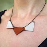 Build your own necklace, customizable jewelry with three leather triangles. Black gray and brown.