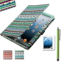 Pandamimi ULAK(TM) Aztec Tribal Magnetic PU Leather stand Case Smart Cover For Apple iPad 2, iPad 3(the new iPad) , iPad 4th Generation with Stylus (Wake/sleep Function)+ Screen protector (Green Tribal)