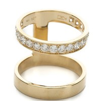 Double Stack Ring with Diamonds