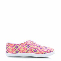 Aztechno-Tribal-Canvas-Sneakers NEONPINK - GoJane.com