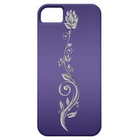 Purple Gradient with Silver Floral Swirls iPhone5
