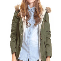 ROMWE | ROMWE Hooded Velvet Lining Green Casual Coat, The Latest Street Fashion