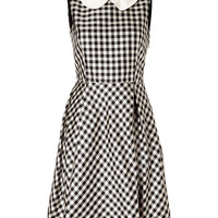 Rochas - Pearl/Black Gingham Silk Satin Dress