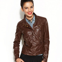 Celebrity Pink Juniors Jacket, Faux-Leather Stitched Motorcycle