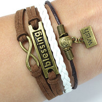 charm bracelets -blessing bracelets,mens womens bracelets, wish bracelets,brown rope barcelets ,blessing gifts 427