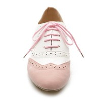 Ollio Women's Shoe Classics Lace Up Dress Low Flat Heel Multi Colored Oxford (10 B(M) US, Pink-White)