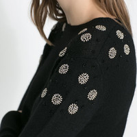 SWEATER WITH SHOULDER DIAMANTE