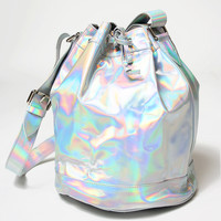 Motel Bucket Bag in Iridescent Hologram