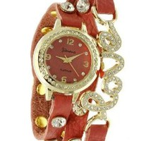 Geneva Platinum 12953612 Designer Inspired LOVE wrap around watch with Czech Rhinestones-CORAL/GOLD