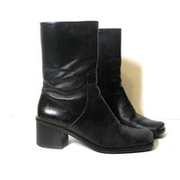 90s tall black leather boots. chunky boots. GOTH boots. women's shoes size 8