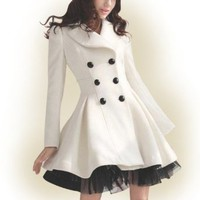 Winter Fashion Women Slim Elegant Double-breasted Veil Pendulum Trench Coat