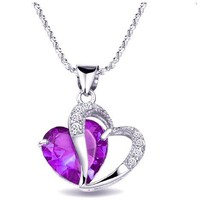 eFuture(TM) Purple Rhodium Plated Diamond Accent Amethyst Heart Shape Pendant Necklace +eFuture's nice Keyring