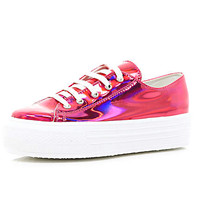 PINK METALLIC LACE UP FLATFORMS