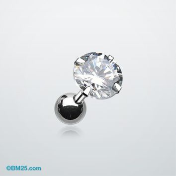 Round Gem Crystal Cartilage Earring