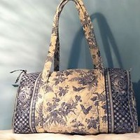 "VERA BRADLEY ""BLUE TOILE"" DUFFLE BAG - TRAVEL - RARE"