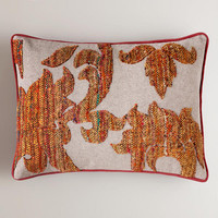Rust Tweed Recycled Sari Lumbar Pillow