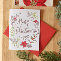 Letterpress Christmas Wreath Greeting Card