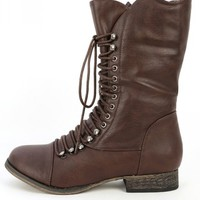 Breckelle's Georgia-34 Brown Lace Up Boots | MakeMeChic.com