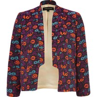 PURPLE FLORAL INVERTED COLLAR BLAZER