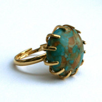 Turquoise Ring Mosaic Coin Bead Vintage Gold Tone Prong Adjustable Ring
