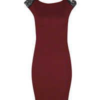Isabella Embellished Shoulder Trim Bodycon Dress