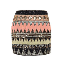 Safa Sequin Front Mini Skirt