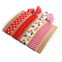 Elastic Hair Ties Cherries Red and White Polka Dot Chevron Yoga Hair Bands